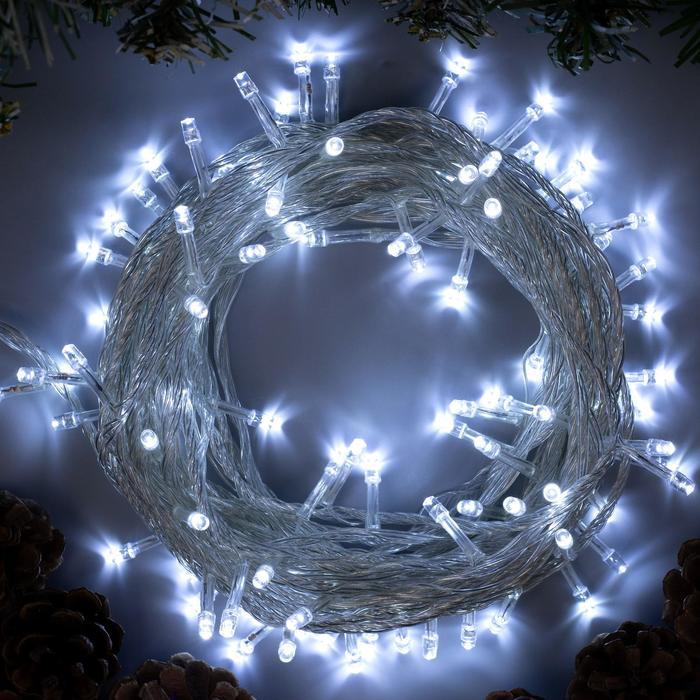 """Гирлянда """"Нить"""" 10 м , IP20, прозрачная нить, 100 LED, свечение белое, 8 режимов, 220 В"""