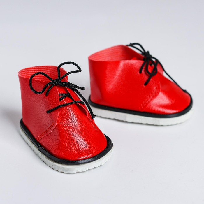 Ботинки для куклы «Завязки», длина подошвы: 7,5 см, 1 пара, цвет красный