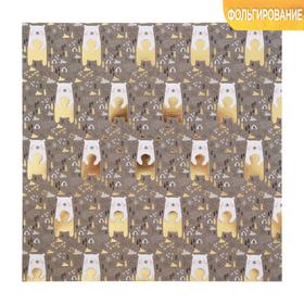 Бумага для скрапбукинга с фольгированием «Медвежата», 20 × 20 см, 250 г/м Ош