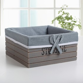 Корзина для хранения Доляна Storage, 15×15×9 см, дерево, малая, цвет серый