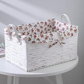 Корзина для хранения плетёная Доляна «Цветочки», 36×24×21 см, цвет белый