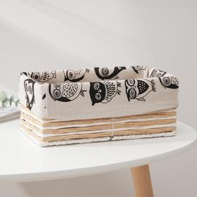 Корзина для хранения плетёная Доляна «Совы», 25×14×10 см