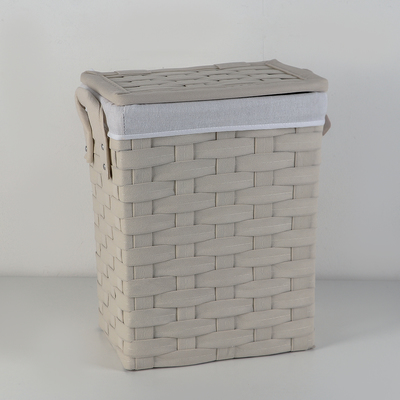 Корзина для хранения плетеная прямоуголная 38х28х47 см, цвет молочный, средняя