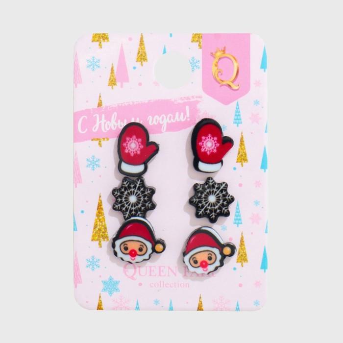 Пусеты 3 пары Новогодние снежинка, дед мороз, варежка, цветные