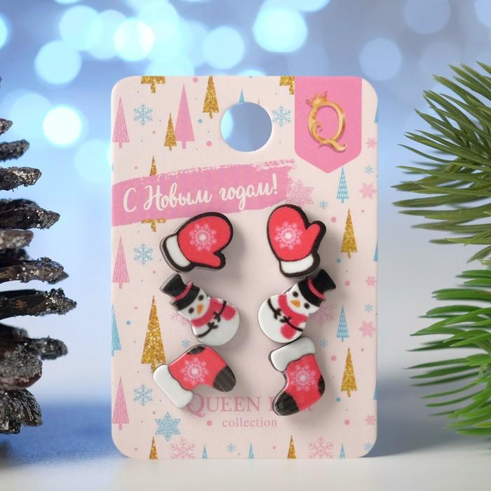 Пусеты 3 пары Новогодние снеговик, валенок, варежка, цветные