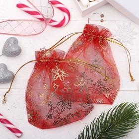 Мешочек новогодний 'Снежинки' WF-602, 10*12см, цвет красный с золотом Ош