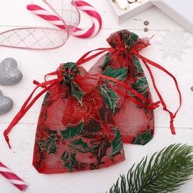 Мешочек новогодний 'Остролист', 9,5*12,5, цвет красно-зелёный Ош