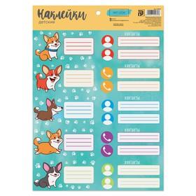 Наклейки для детского сада «Забавные корги», 21 × 29.2 см