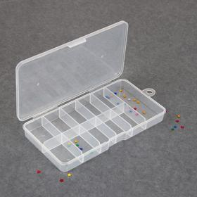 Контейнер для декора, 11 ячеек, 16 × 8 × 2 см, цвет прозрачный Ош