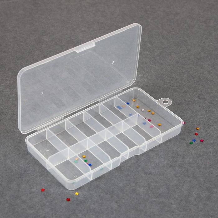 Контейнер для декора, 11 ячеек, 16 × 8 × 2 см, цвет прозрачный