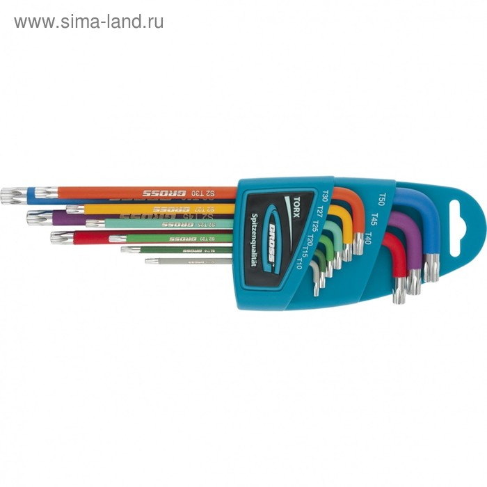 Набор ключей Gross 16402, имбусовые, TORX-TT, 9 шт, T10-T50, магнит, S2, 9 шт.