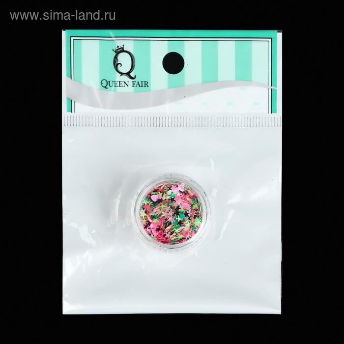 Пайетки для декора «Ассорти», цвет розовый/зелёный/светло-зелёный/чёрный