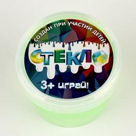 Слайм «Стекло»с переливающимися неоновыми блёстками, зелёный 100 г