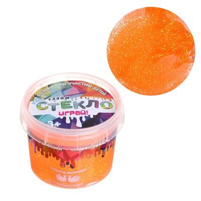 Слайм «Стекло»с переливающимися неоновыми блёстками, оранжевый 100 г - Фото 1