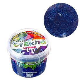 Слайм «Стекло»с эффектом мерцания драгоценных камней — сапфир (синий) 100 г