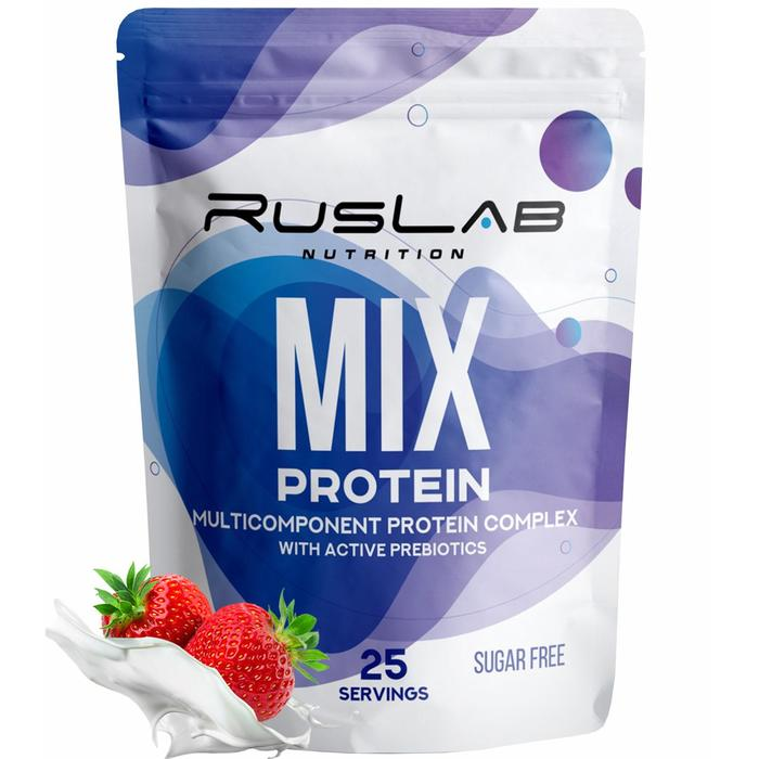 Протеин RusLabNutrition MIX Protein Клубника со сливками, 800 г