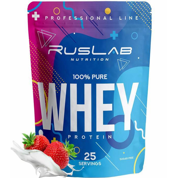 Протеин RusLabNutrition Whey 100 % pure Клубника со сливками, 800 г