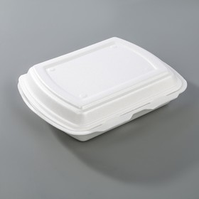 Ланч-бокс одноразовый, 24,7х19,8х7,5 см, 3-х секционный, 200 шт/уп, цвет белый