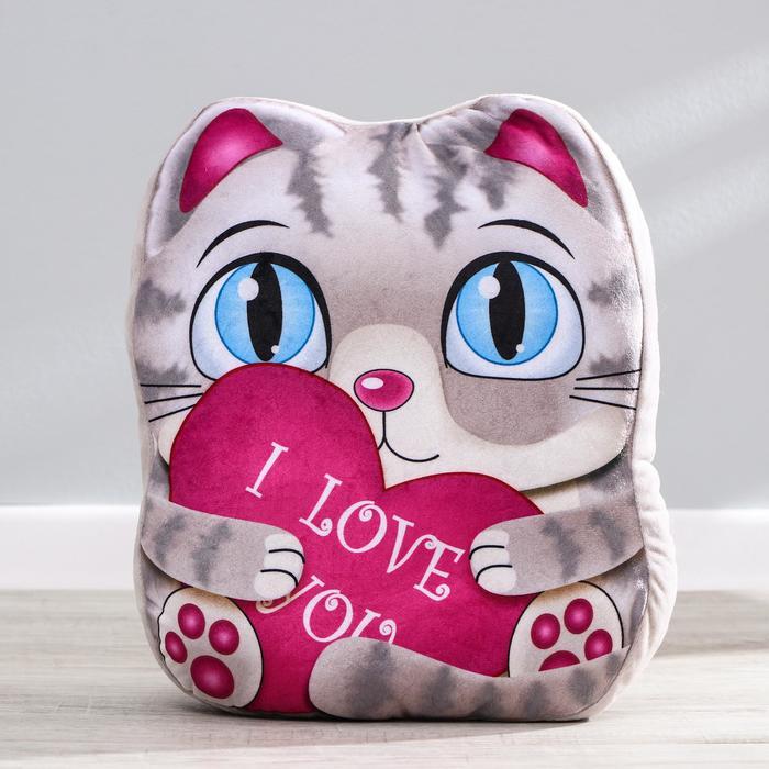 Мягкая игрушка Котик, с сердцем