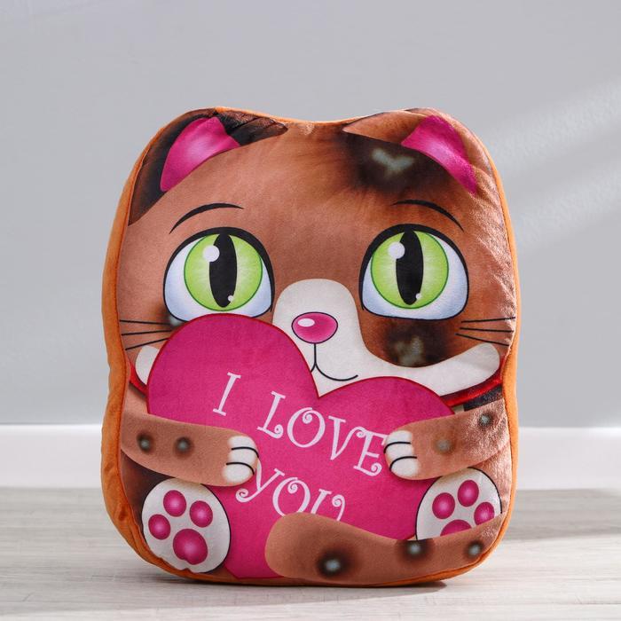 Мягкая игрушка Милый котик, с сердцем