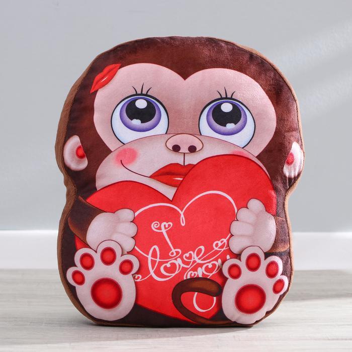 Мягкая игрушка Обезьянка, с сердцем