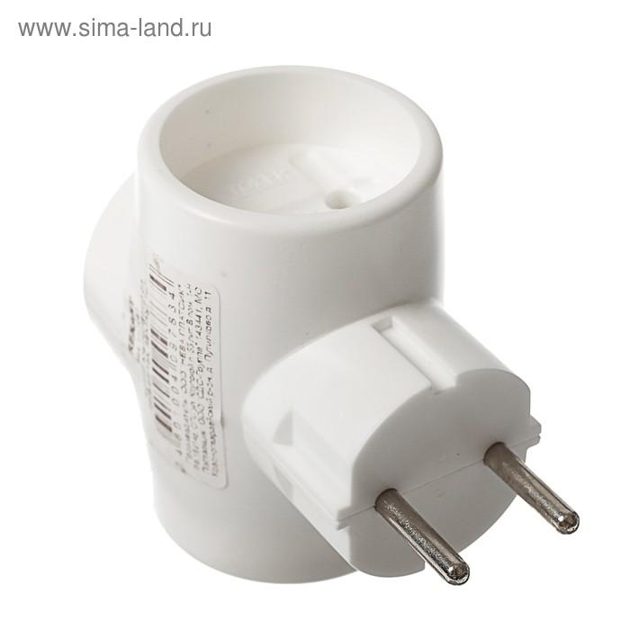Тройник электрический REXANT, 6-10 A, без з/к, белый