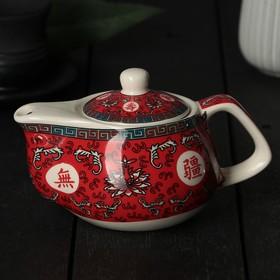 """Чайник заварочный 200 мл """"Лотос"""", с металлическим ситом, цвет красный"""