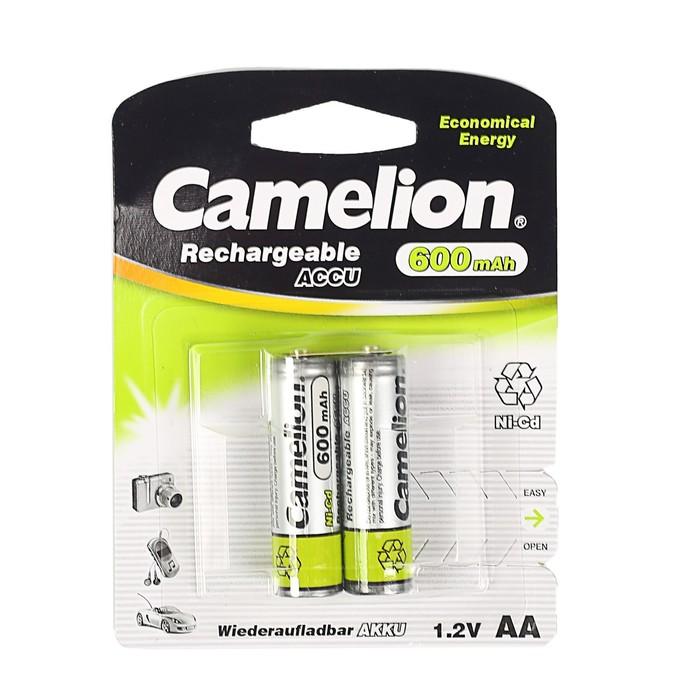 Аккумулятор Camelion, AA, Ni-Cd, KR6-2BL (NC-AA600BP2), 1.2В, 600 мАч, блистер, 2 шт.