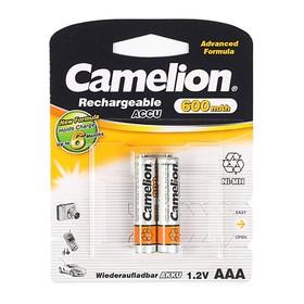 Аккумулятор Camelion, AAA, Ni-Mh, HR03-2BL (NH-AAA600BP2), 1.2В, 600 мАч, блистер, 2 шт. Ош