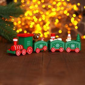 Сувенир «Новогодний поезд», 19 см, цвет зелёный