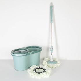 Набор для уборки: швабра, ведро с пластиковой центрифугой (съёмная) 16 л, запасная насадка из микрофибры, колёсики, цвет МИКС Ош
