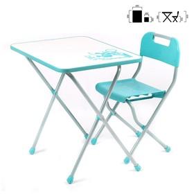 Комплект детской мебели с рисунком в стиле «Ретро», цвет бирюзовый Ош