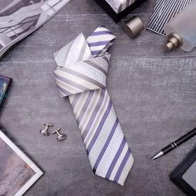 Набор мужской 'Стиль' галстук 145*5см самовяз, запонки, полоски, цвет бежево-серый Ош
