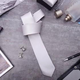 Набор мужской 'Премьер' галстук 145*5см самовяз, запонки, тонкая полоска, цвет серый Ош