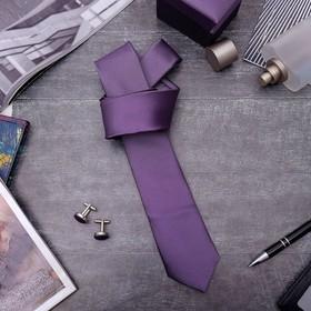 Набор мужской 'Премьер' галстук 145*5см самовяз, запонки, цвет фиолетовый Ош