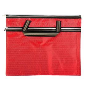 Портфель 1 отделение, А4, текстиль на молнии с ручками, с карманом красный Ош
