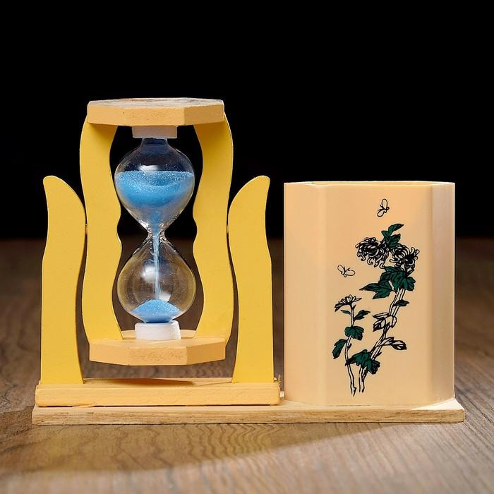 Часы песочные Япония с карандашницей, 5х13.5х10 см, микс