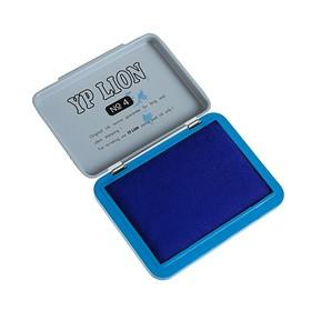 Штемпельная подушка, синяя, в металлической коробке, № 4, 6 х 8 см Ош