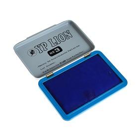 Штемпельная подушка, синяя, в металлической коробке, №3, 10х7 см Ош