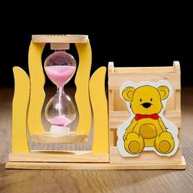 Часы песочные 'Медвежонок' с карандашницей, 13.5х13.5х10 см, микс Ош
