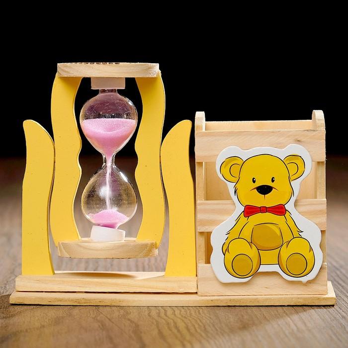Часы песочные Медвежонок с карандашницей, 13.5х13.5х10 см, микс