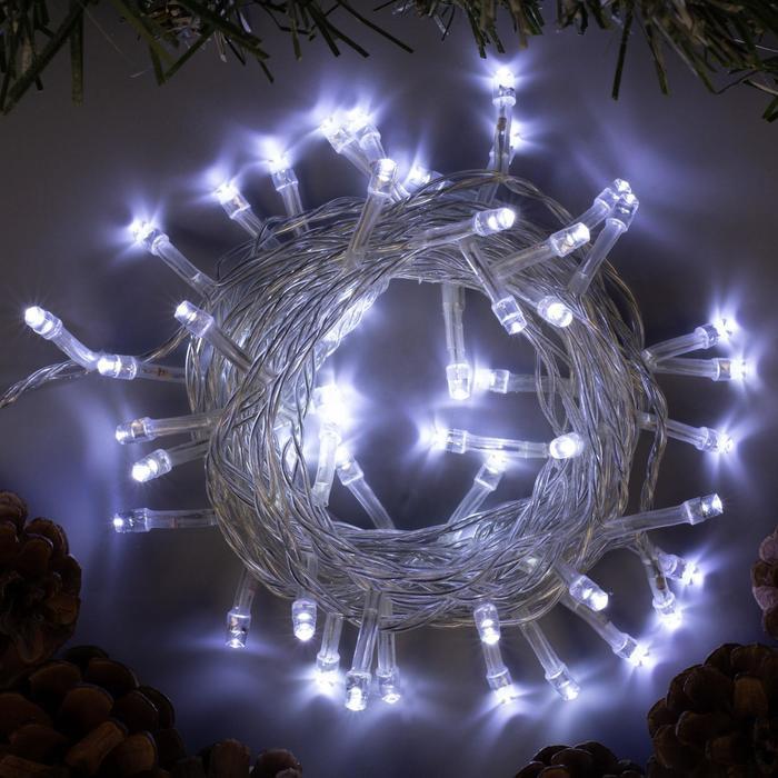 """Гирлянда """"Нить"""" 5 м , IP20, прозрачная нить, 50 LED, свечение белое, 8 режимов, 220 В"""