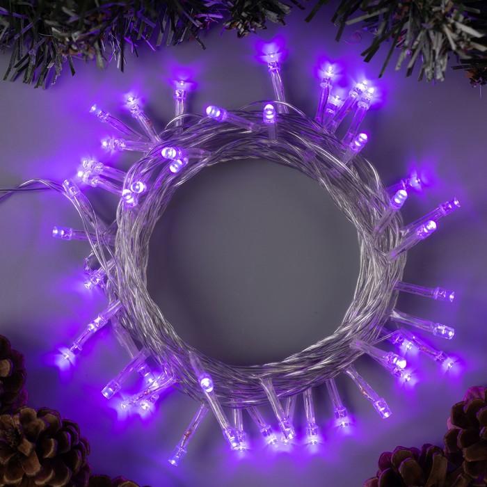 """Гирлянда """"Нить"""" 5 м , IP20, прозрачная нить, 50 LED, свечение фиолетовое, 8 режимов, 220 В"""