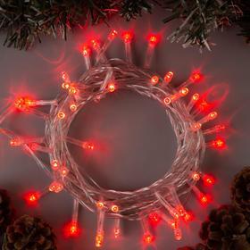 """Гирлянда """"Нить"""" 5 м , IP20, прозрачная нить, 50 LED, свечение красное, 8 режимов, 220 В"""