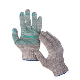 Перчатки, х/б, вязка 7 класс, 6 нитей, размер 9, с ПВХ точками, серые, Greengo