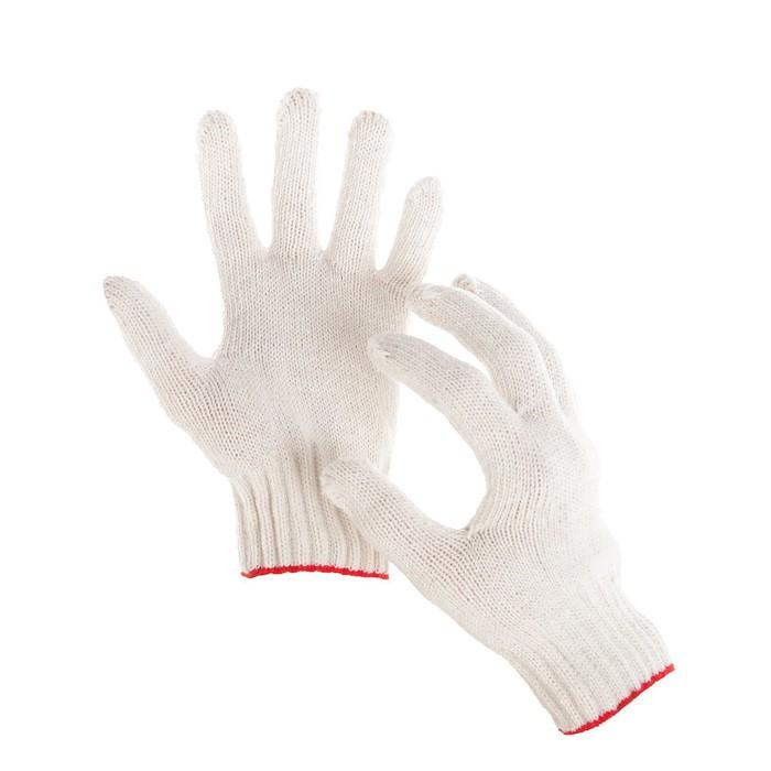 Перчатки, хб, вязка 7 класс, 5 нитей, размер 9, без покрытия, белые