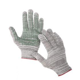 Перчатки, х/б, вязка 7 класс, 4 нити, размер 9, с ПВХ точками, серые, Greengo
