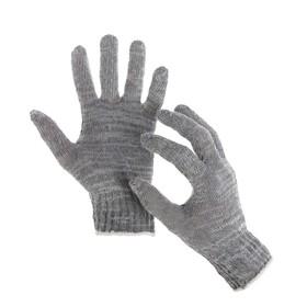 Перчатки, х/б, вязка 7 класс, 3 нити, размер 9, без покрытия, серые