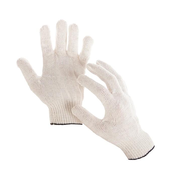 Перчатки, хб, вязка 10 класс, 4 нити, размер 9, без ПВХ, белые