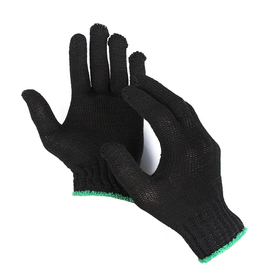 Перчатки, х/б, вязка 7 класс, 3 нити, размер 9, без покрытия, чёрные Ош